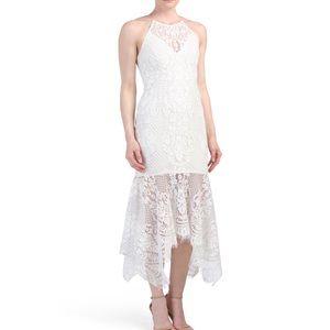 NWT Shona Joy Lace Handkerchief Midi Dress
